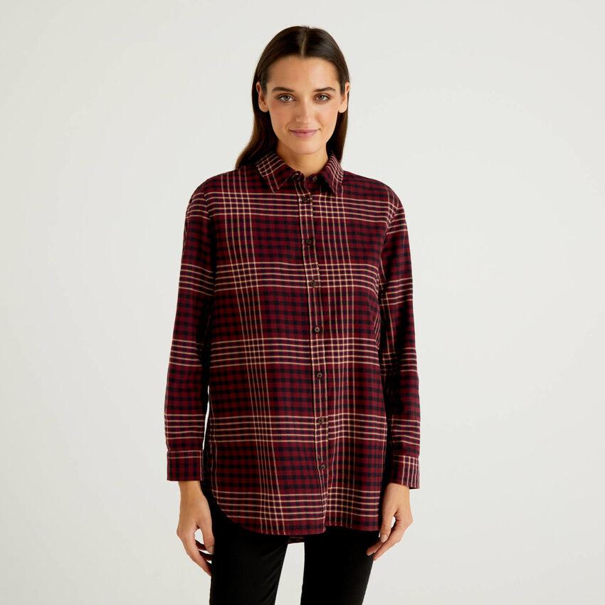 Camicia lunga a quadri in 100% cotone