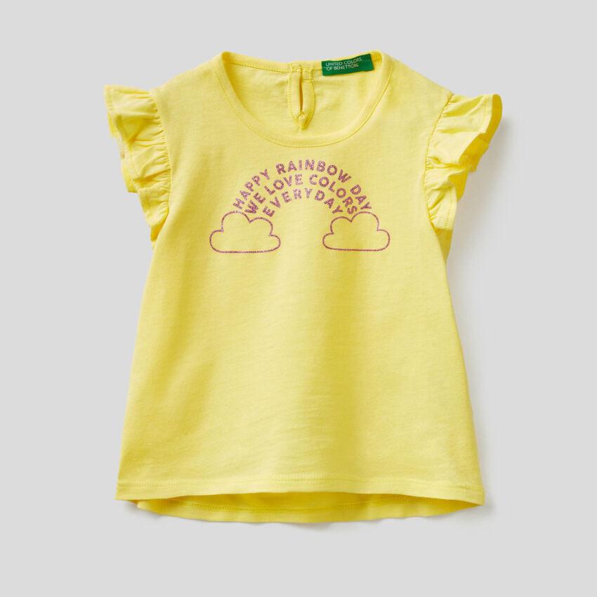 T-shirt con manica ad aletta