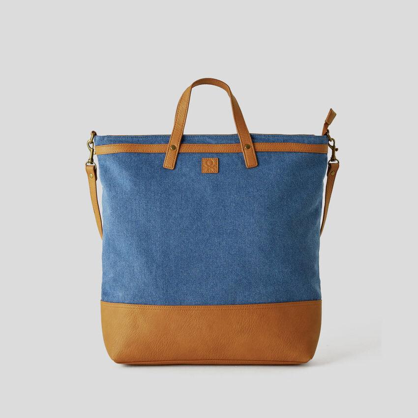 Shopping bag effetto denim