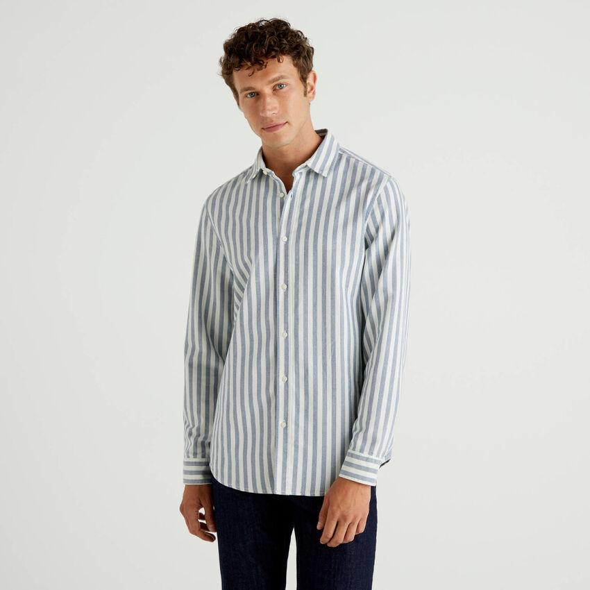 Camicia a righe in 100% cotone Oxford