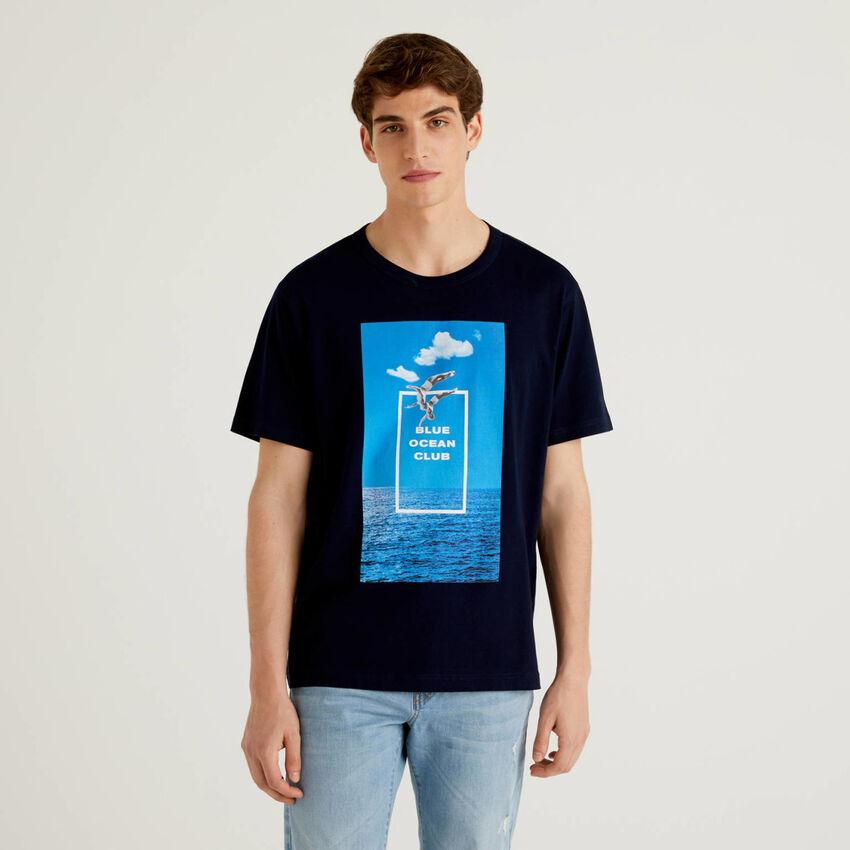 T-shirt con stampa in cotone biologico
