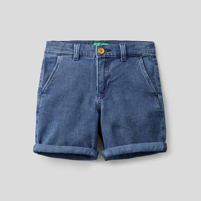 Shorts in denim di cotone stretch