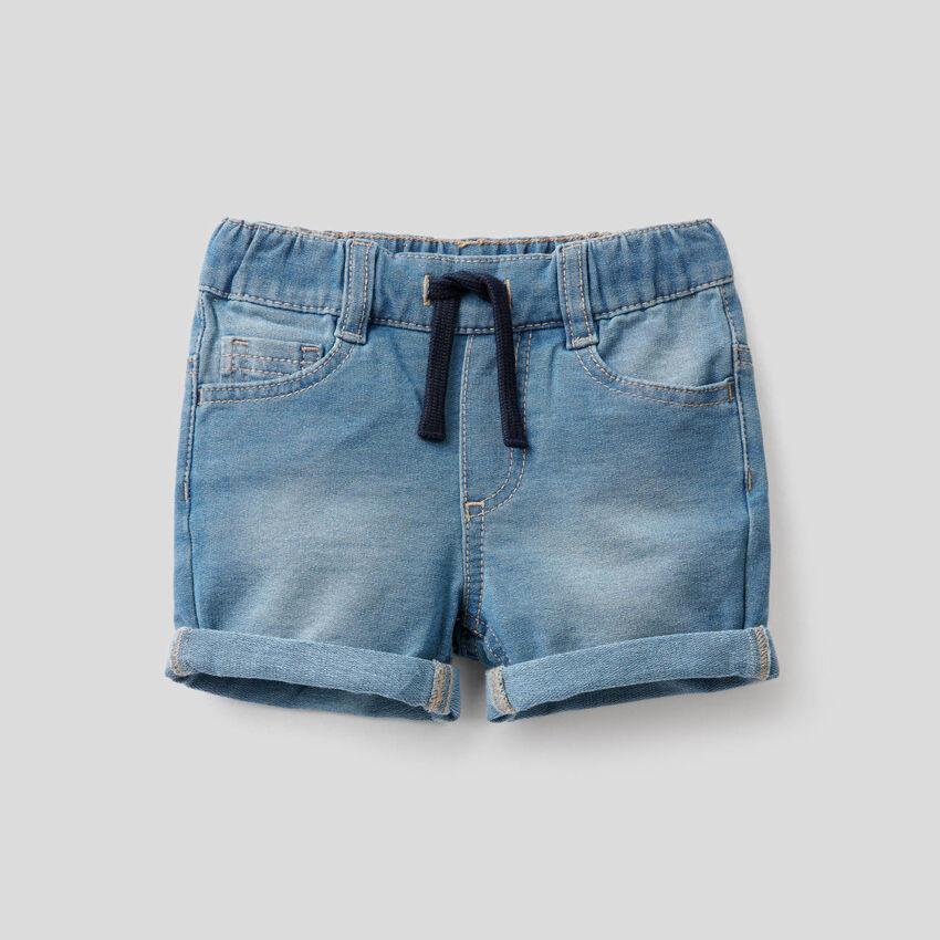 Pantaloncini in felpa effetto denim