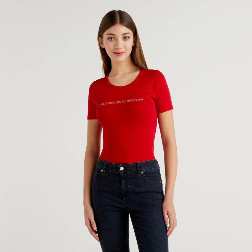 T-shirt 100% cotone con stampa logo glitter