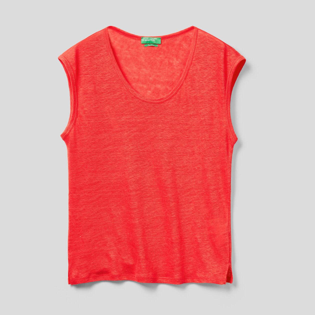 T-shirt in lino manica corta