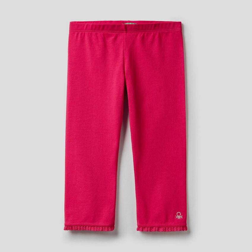 Leggings a 3/4 in cotone elasticizzato
