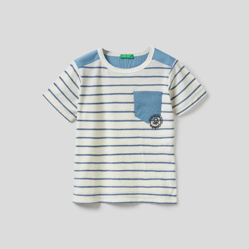 T-shirt a righe in cotone misto lino
