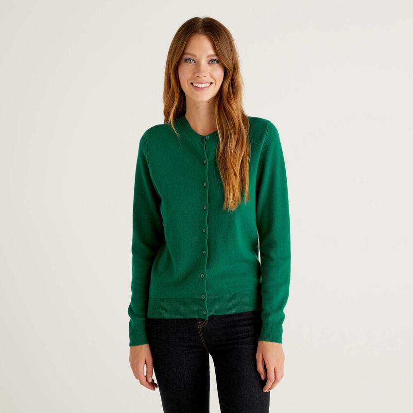 Cardigan girocollo verde scuro in pura lana vergine