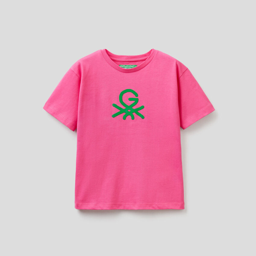 T-shirt fucsia unisex con stampa by Ghali