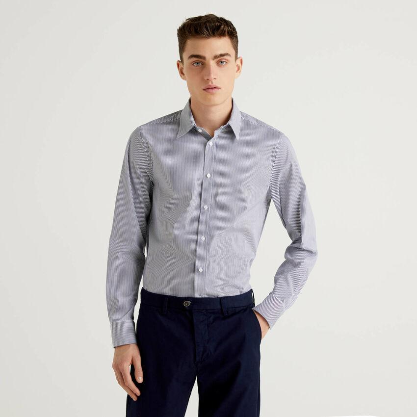 Camicia in cotone stretch tinto filo