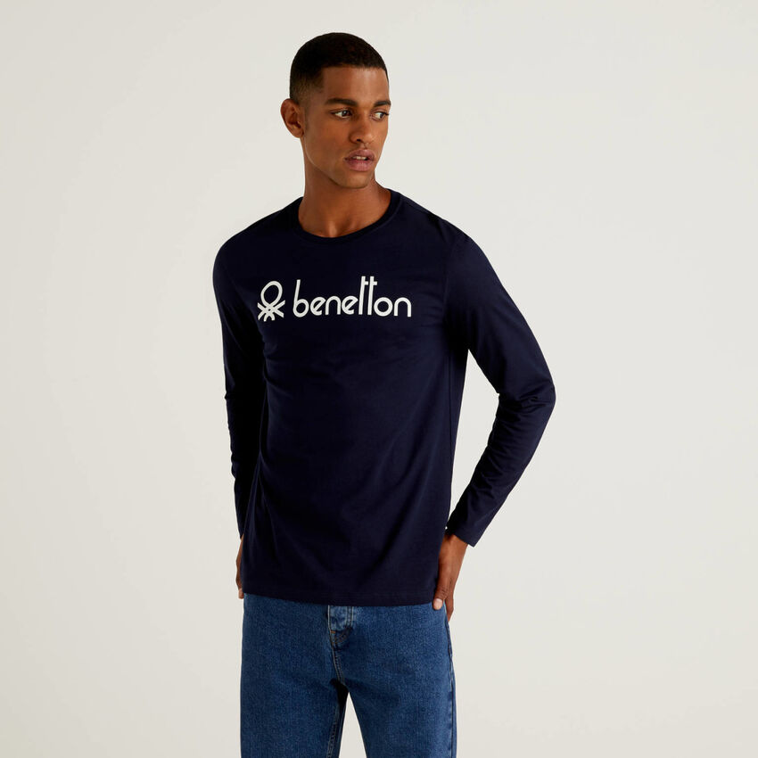 T-shirt manica lunga con stampa logo