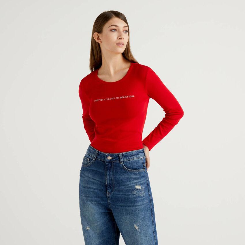 T-shirt rossa a manica lunga 100% cotone