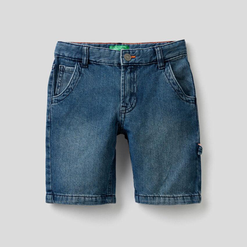 Pantaloni corti in denim di 100% cotone