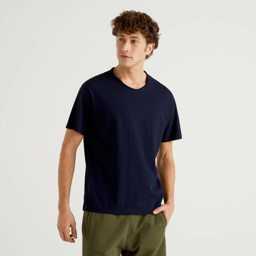 T-shirt blu scuro in puro cotone