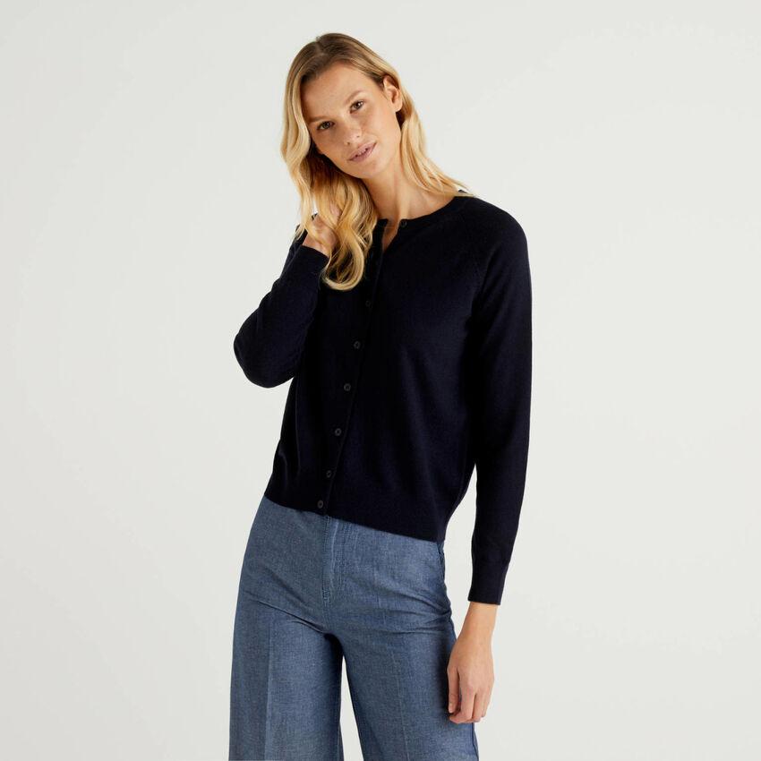 Cardigan girocollo blu scuro in misto lana e cashmere