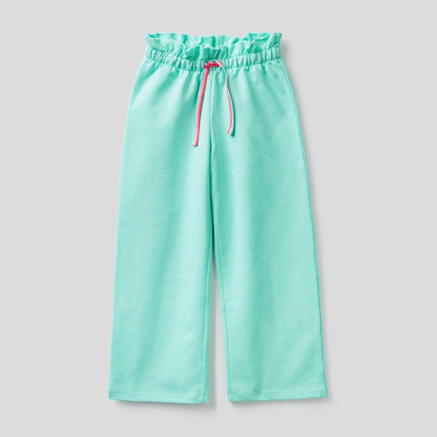 Pantaloni a gamba ampia in felpa leggera