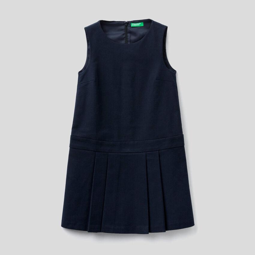 Vestito smanicato in flanella stretch