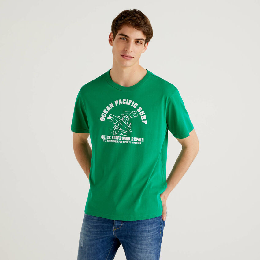 T-shirt verde 100% cotone con stampa