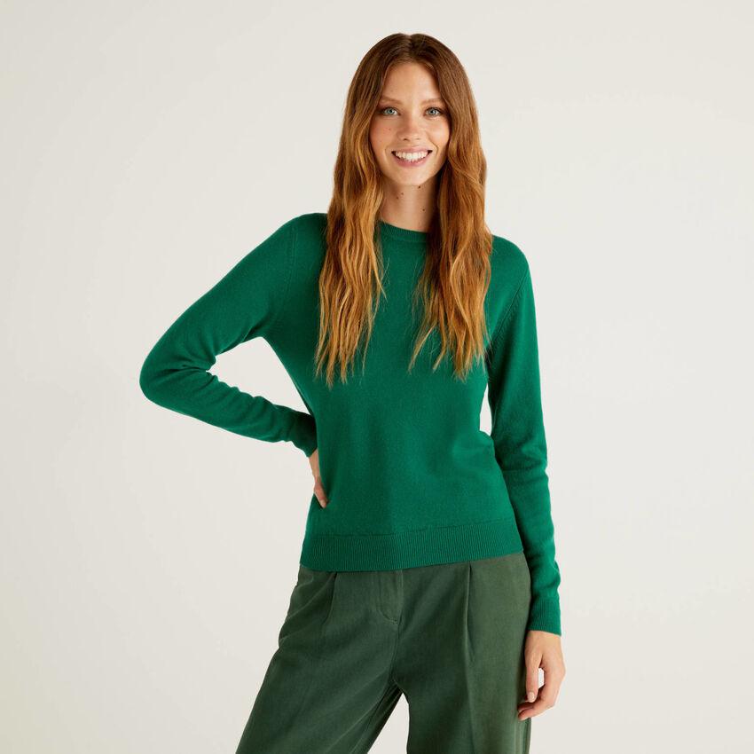 Maglia girocollo verde scuro in pura lana vergine