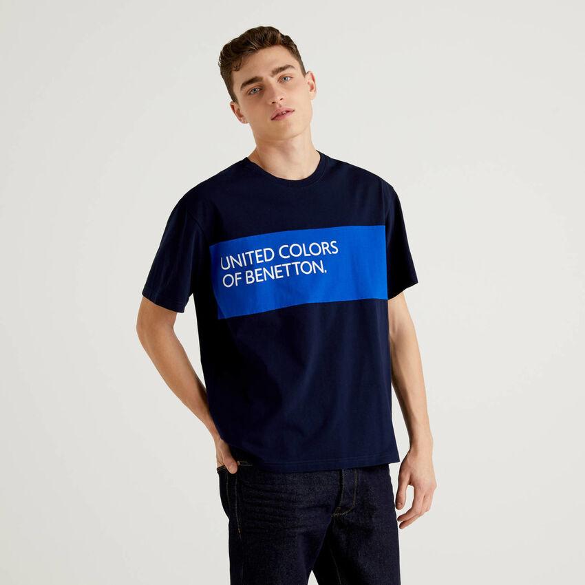 T-shirt 100% cotone con banda a contrasto