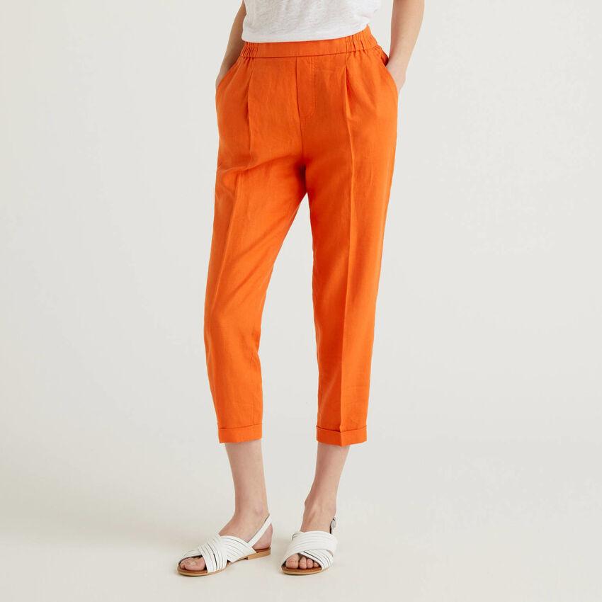 Pantaloni cropped in 100% lino
