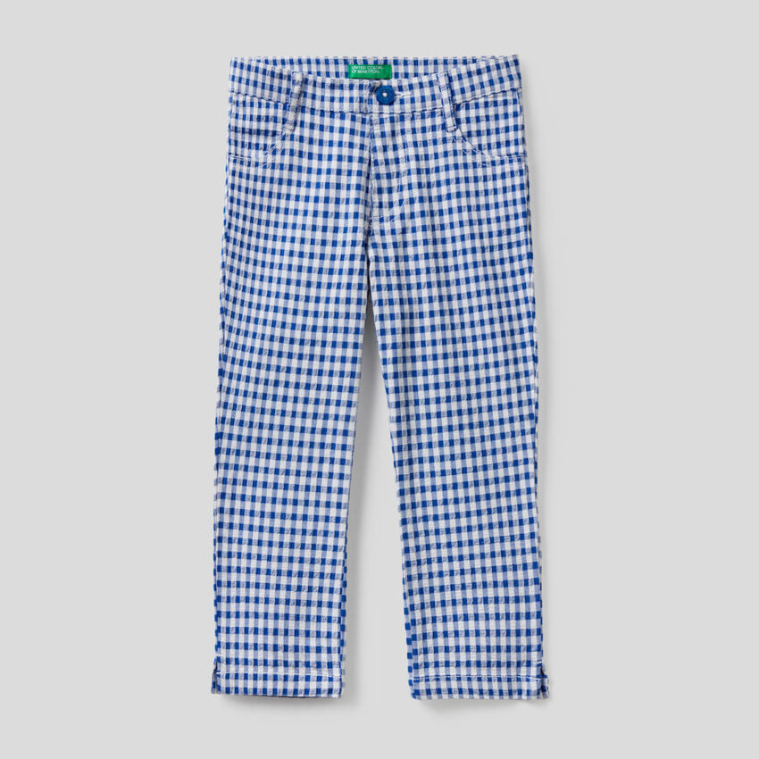 Pantaloni cropped a quadretti