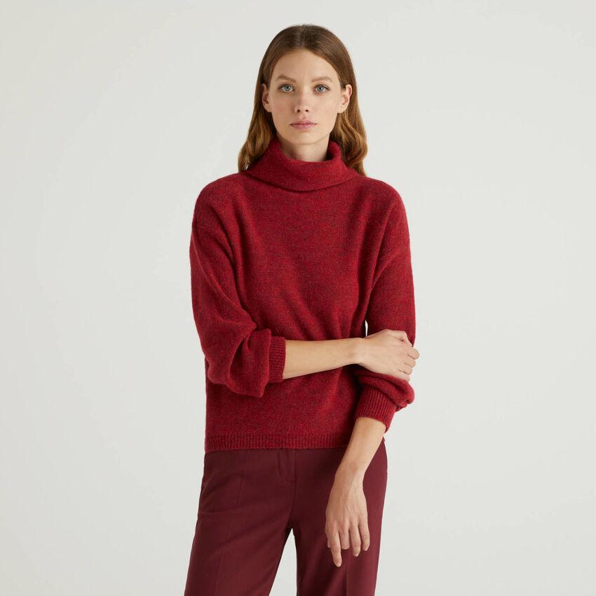 Maglia a collo alto in misto lana