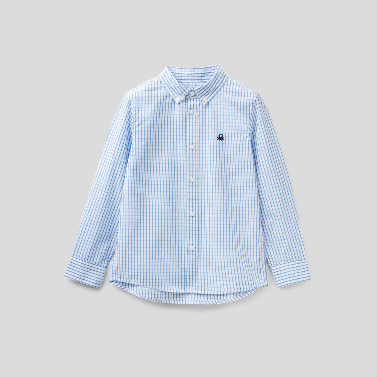 Camicia sportiva a quadri in puro cotone