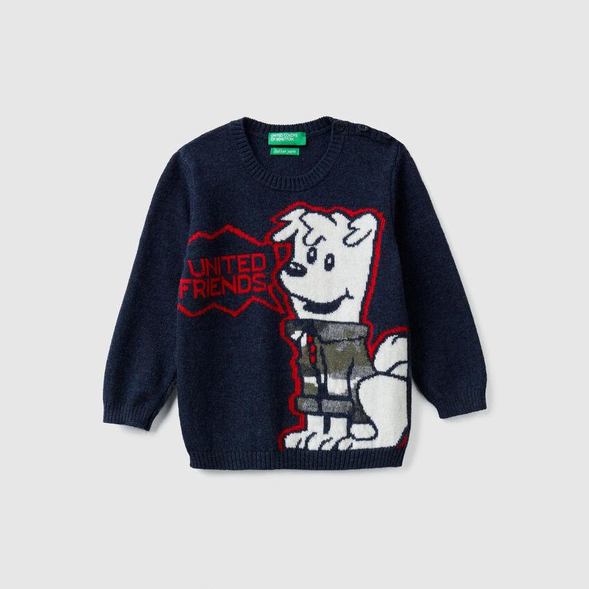 Maglia tricot con intarsio