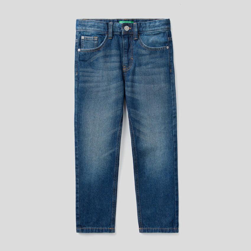 Jeans straight leg in denim 100% cotone