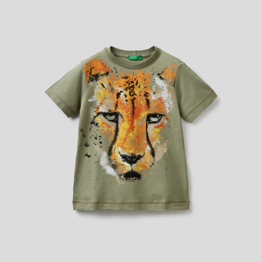 T-shirt verde militare stampa ghepardo