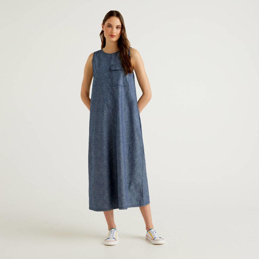 Maxi abito smanicato effetto jeans