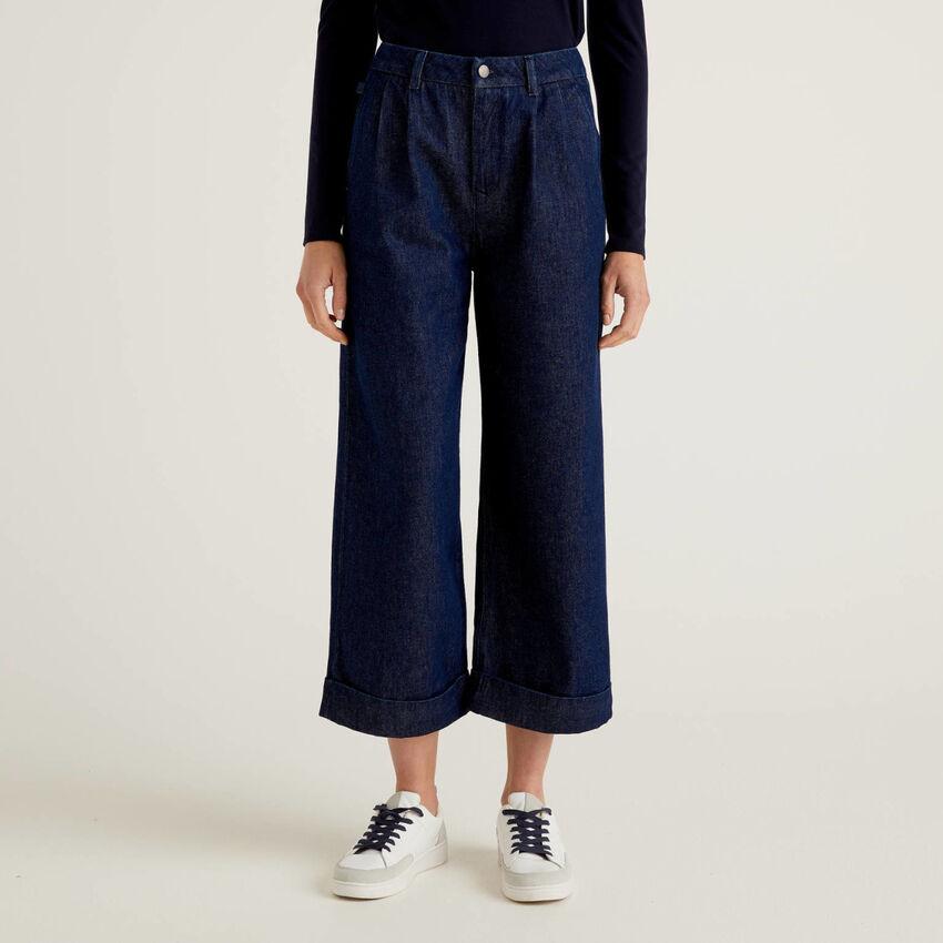 Pantaloni in jeans modello culotte