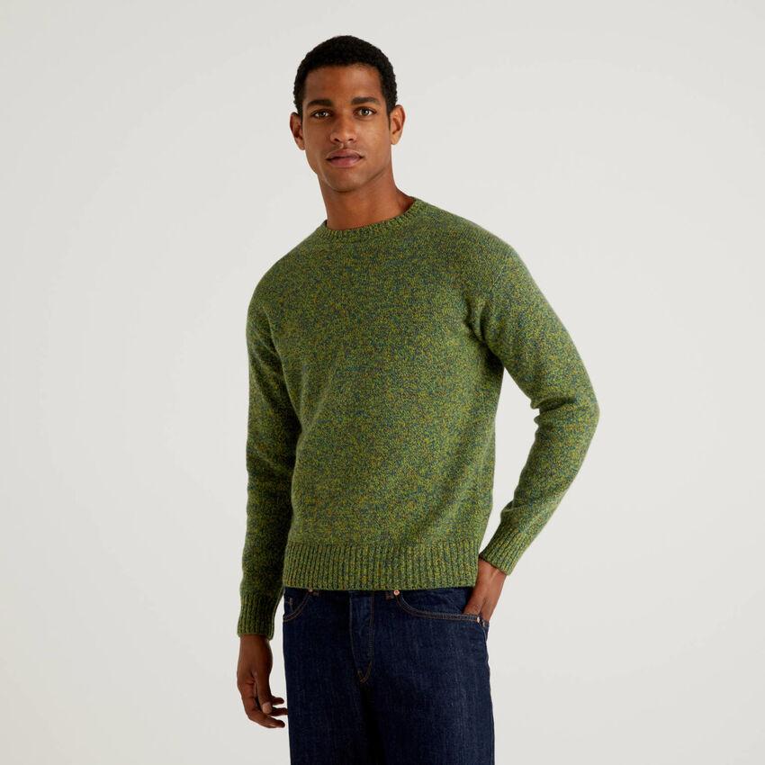Maglia girocollo in pura lana Shetland
