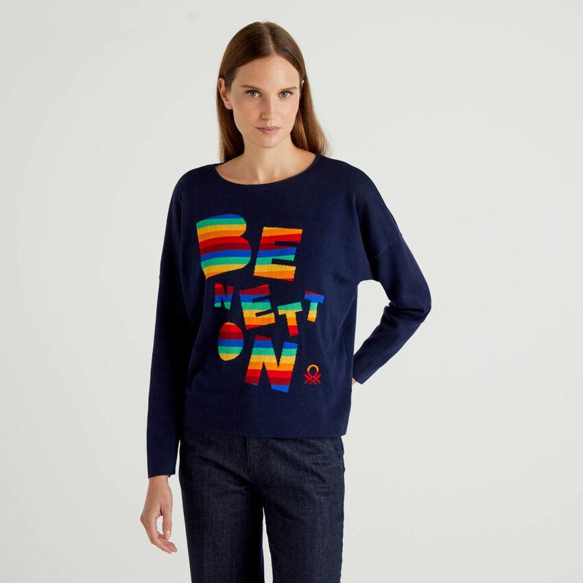 Maglia 100% cotone con logo multicolor