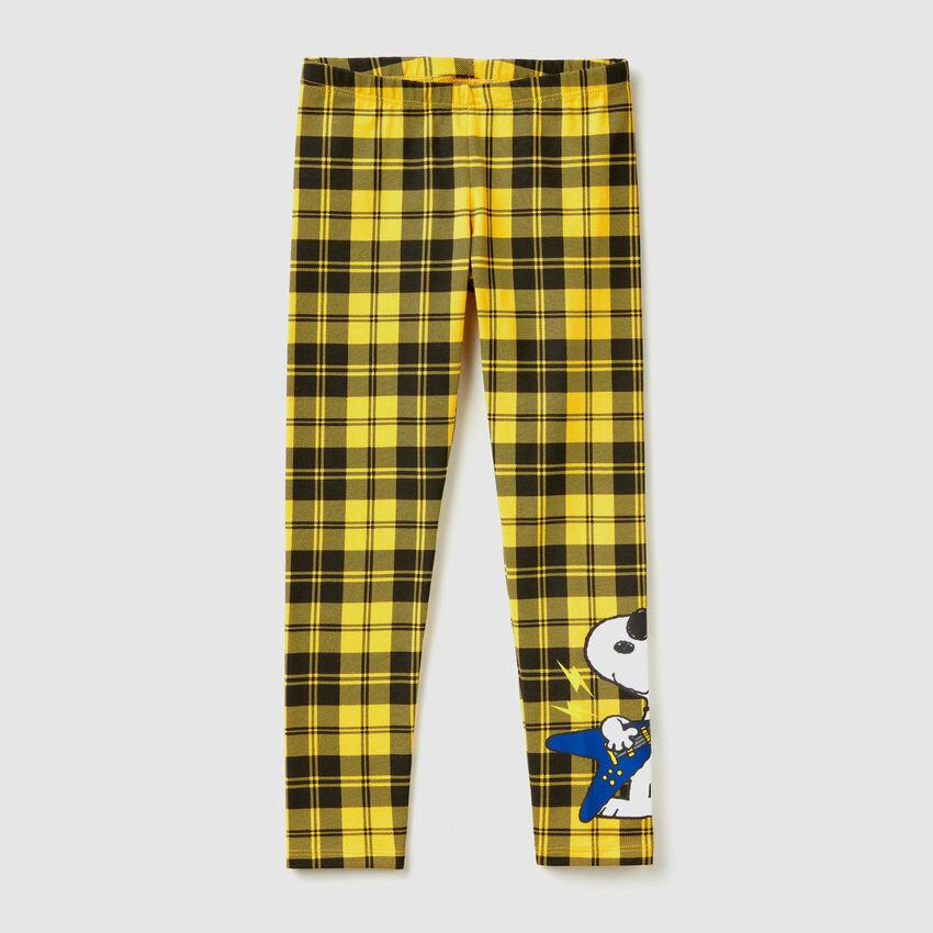 """Leggings a quadri con stampa """"Snoopy"""""""