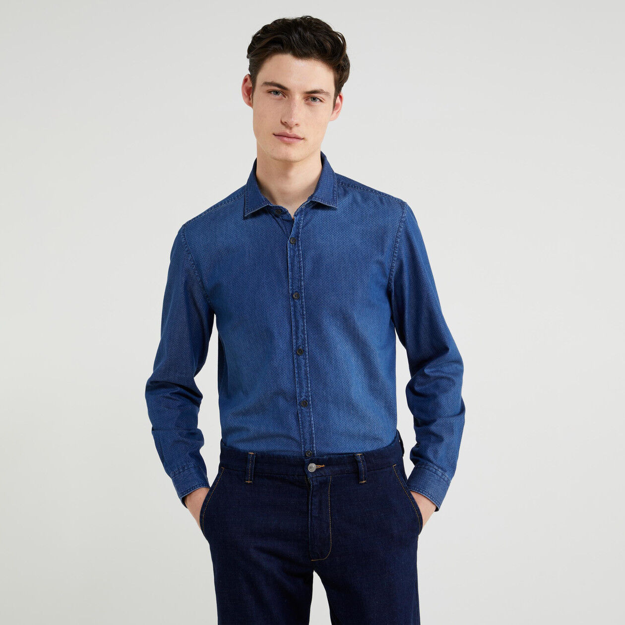 Camicia slim fit in chambray