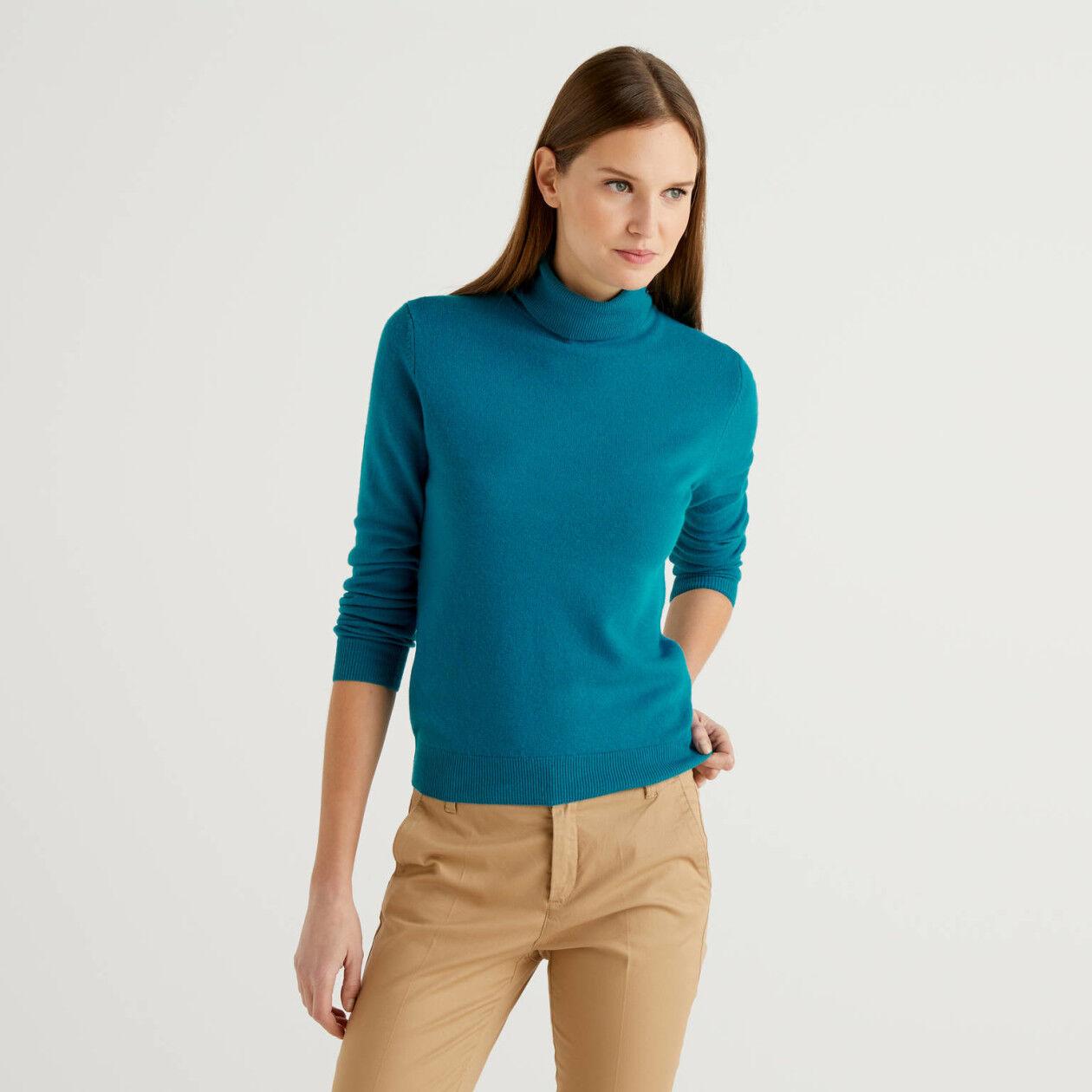 Maglione dolcevita ottanio in pura lana vergine