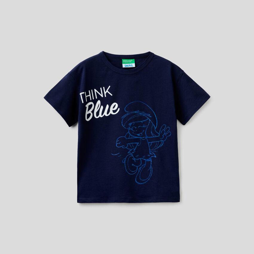 T-shirt boxy blu scuro con stampa I Puffi