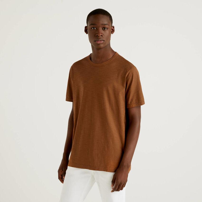 T-shirt marrone 100% cotone con stampa