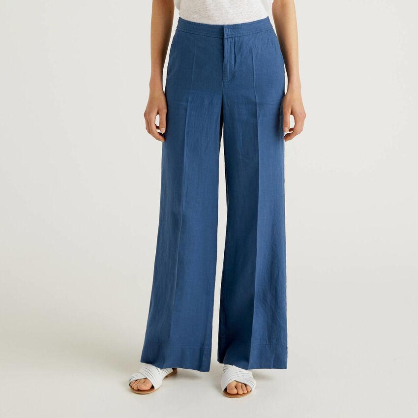 Pantaloni palazzo in 100% lino