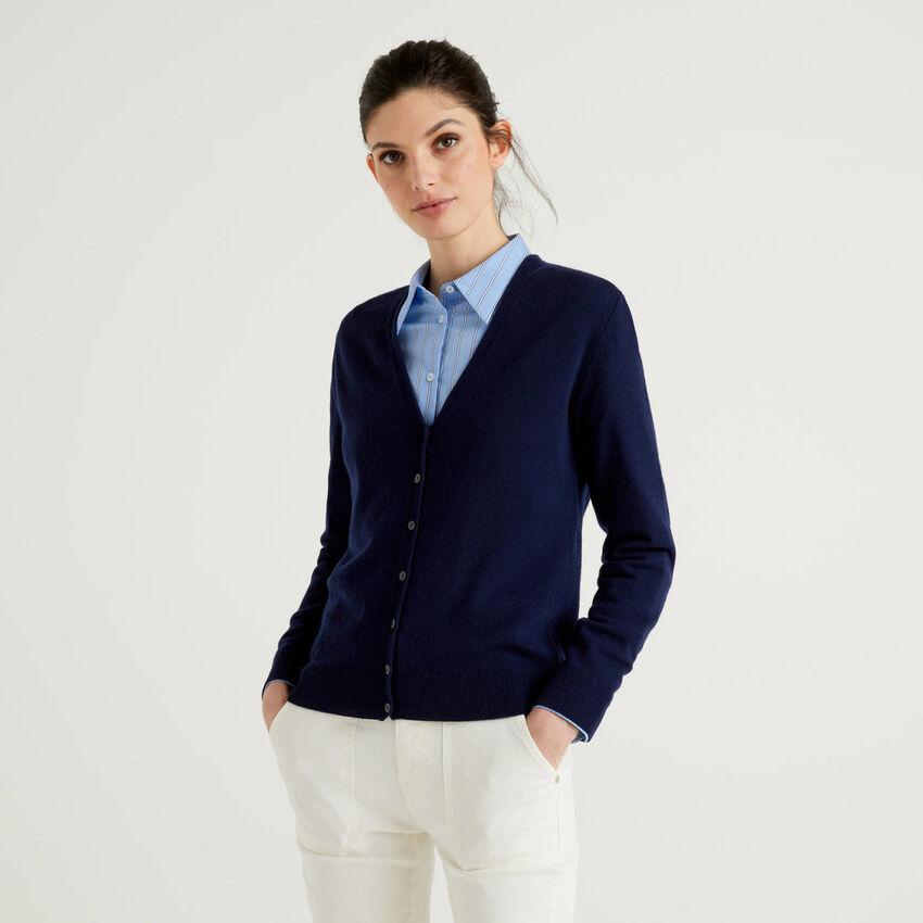 Cardigan scollo a V blu scuro in pura lana vergine