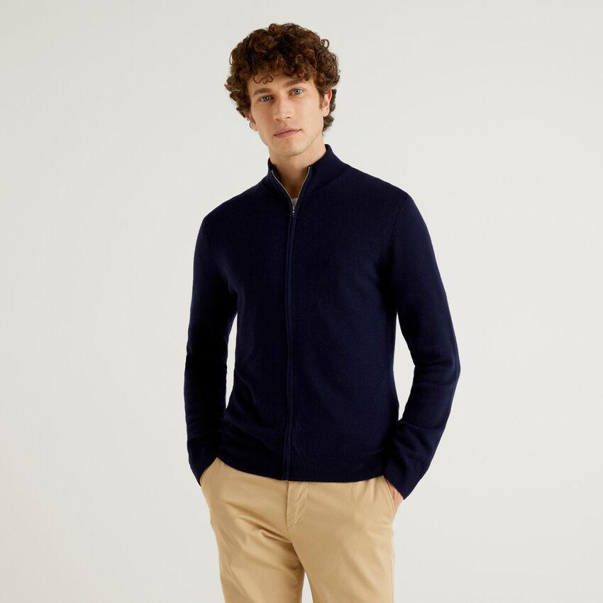 Cardigan con zip blu scuro in pura lana vergine