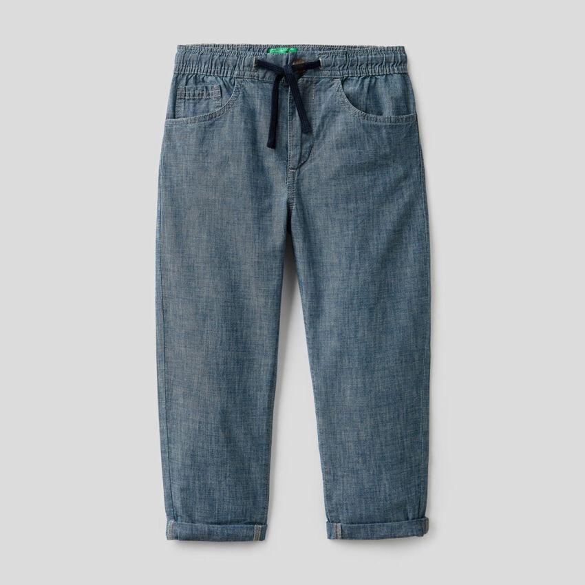 Pantaloni in chambray di puro cotone bio