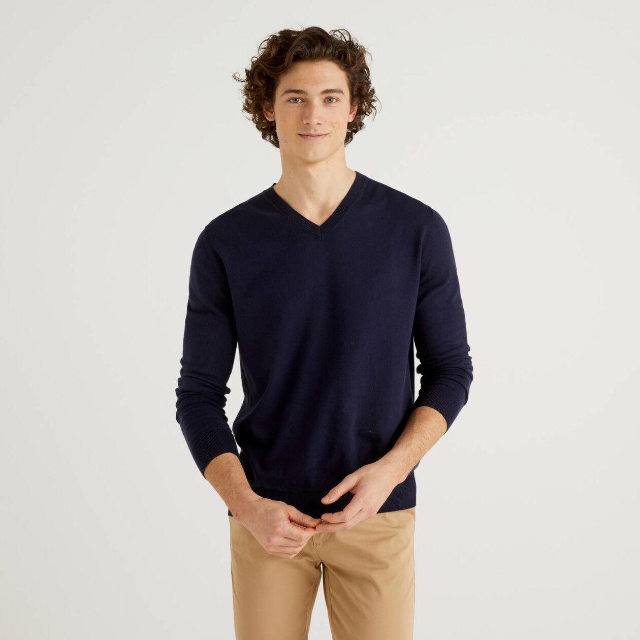 Maglia scollo a V in cotone tricot